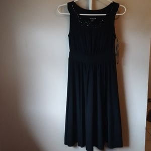 NWT BLACK EMBELLISHED COLLAR MIDI DRESS S